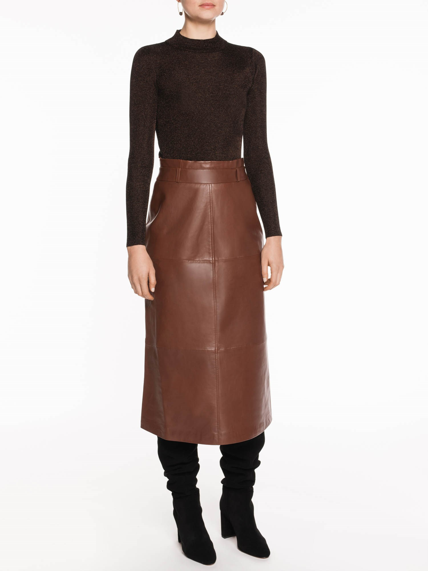 Veronika Maine Leather Midi Skirt | Stay at Home Mum